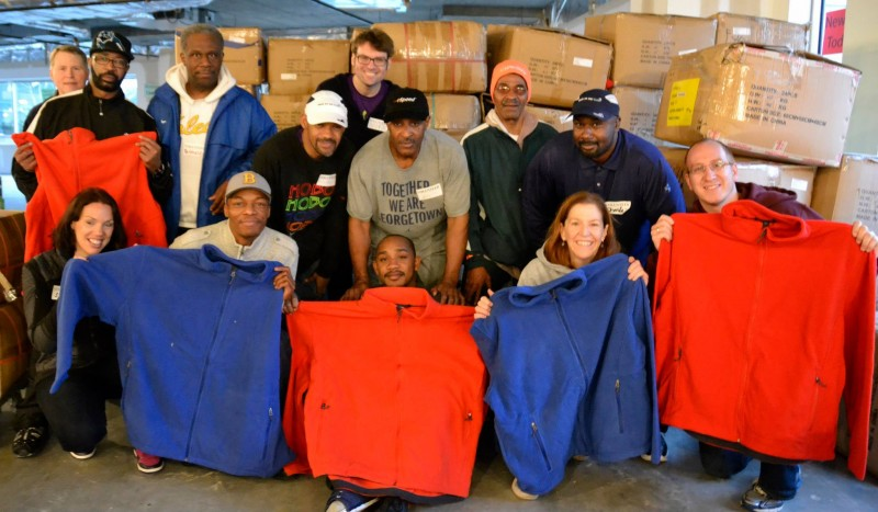 BOMF DC with new GFTH fleece jacket  purchases that were donated during the 2013 GFTH Annual Used Clothing Drive